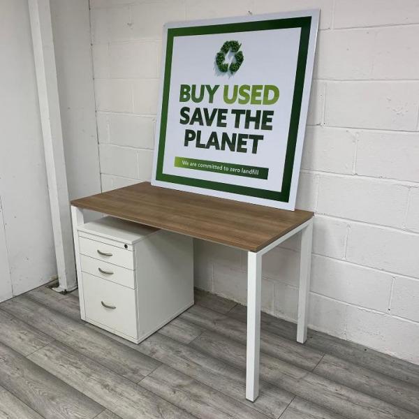 Used Verco Modern Office Desk, White Metal Frame, Walnut Finish