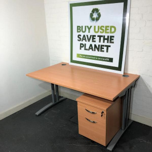 Used Claremont Rectangular Desk & 2 Drawer Pedestal, Beech, 1400mm