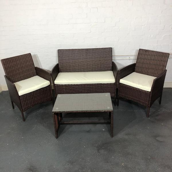 New Outdoor / Garden Sofa Rattan Armchair + Coffee Table Set, Brown