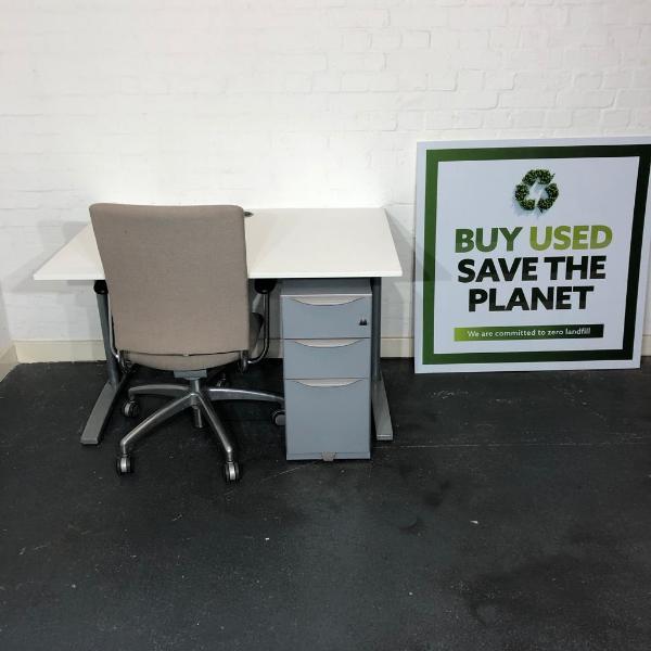 Used Claremont Desk, Verco Office Chair & 3 Drawer Pedestal Set