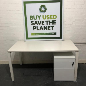 Used Haworth Height Adjustable Office Desk, Rectangular, White