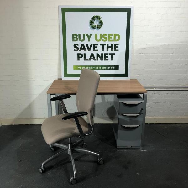 Used Verco Modern Office Desk, Chair & Pedestal Set, Walnut Finish