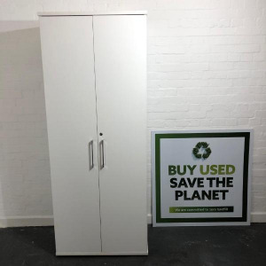 Used Elite Tall Lockable Office Cupboard, 4 Shelves, White H2000mm