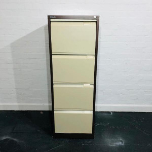 Used Bisley 4 Drawer Filling Cabinet, Lockable, Coffee & Cream Colour