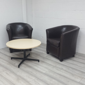 Used Brown Faux Leather Armchairs and Round Coffee Table Set