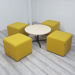 Used Gresham 4 x Yellow Fabric Cube Seats & Round White Coffee Table