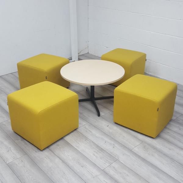 Used Gresham 4 x Yellow Fabric Cube Seats & Round White Coffee Table