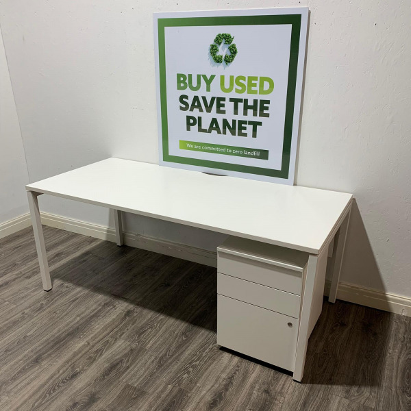 Second Hand Large White Rectangular Desk With Modesty Panel & 3 Drawer Pedestal Width 1800mm. Buy Online - City Used Office Furniture UK