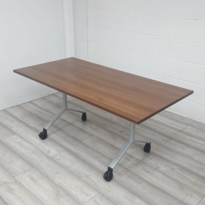 Used Mobile Fliptop Table, Walnut Finish, Width 1600 x Depth 800 mm