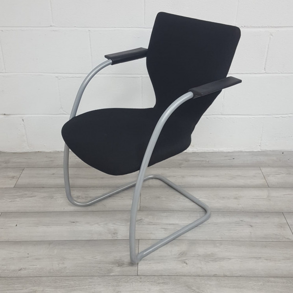 Used Orangebox Go Stackable Meeting Chair, Cantilever Frame, Black