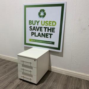 Used 3 Drawer Mobile Desk Pedestal, Flat Front, Chrome Handles, White