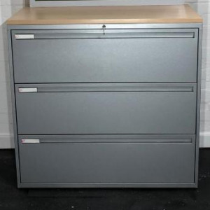 Used KI Mid Height Side Filer Storage Cabinet, 3 Drawers, Metal Frame