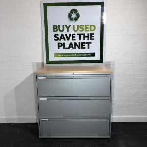 Used KI Mid Height Side Filing Cabinet, 3 Drawers, Maple Top / Grey
