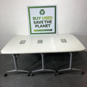 Used Orangebox Flip Top Meeting Table With Power Port, White