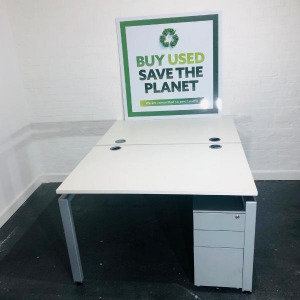 Used Back To Back Bench Desk, White, Metal Legs, 1200x800mm Per Top