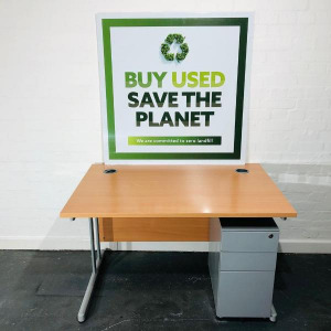 Used Beech Modern Rectangular Desk, Cantilever Frame, 1200mm Wide