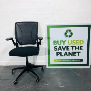 Used Humanscale Diffrient World Ergonomic Task Chair, Armrests, Black