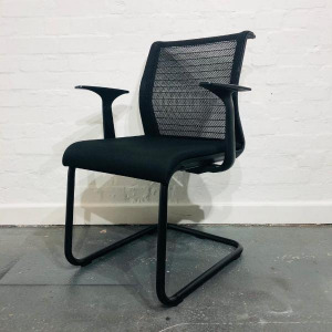 Used Steelcase Think Mesh Back Meeting Chair, Cantilever Frame, Black