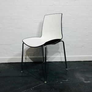 Used Connection Designer Moulded Plastic Chair, Stackable, White