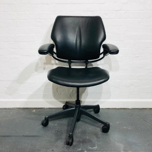 Used Humanscale Freedom Office Chair, Leather, Fully Adjustable, Black