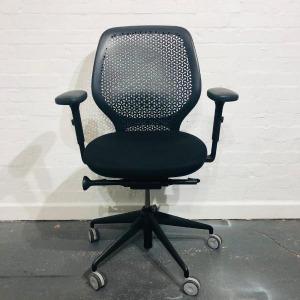 Used Orangebox Ara Office Operator Chair, Armrests, Flexible Back, Black