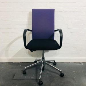 Used Vitra Designer Office Meeting Chair, Armrests, Black / Purple