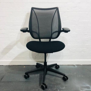 Used Humanscale Liberty Designer Mesh Office Chair, Armrests, Black