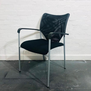 Second Hand Black Mesh Back Office Meeting Chair, Four Legged Frame, Stackable. From £25+VAT. Buy Online - City Used Office Furniture UK