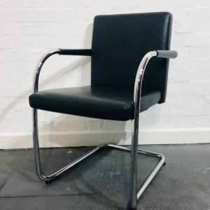 Vitra Visasoft Designer Meeting Chair, Leather, Cantilever Frame, Black