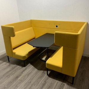 Used Frovi 4 Person Booth Seating Pod With Black Table, Yellow Fabric