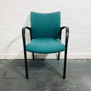 Used Stacking Reception / Meeting Chair, Four Legged, Green Fabric
