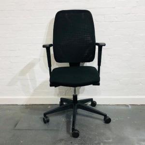 Used Interstuhl High Back Mesh Office Chair, Adjustable Armrests, Black