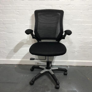 Used Black Mesh Back Office Task Chair With Folding Armrests, Swivel