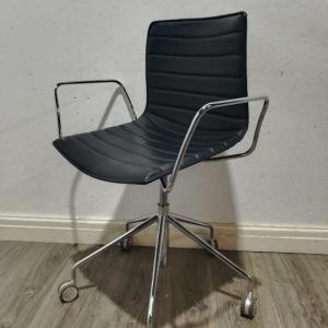 Used Arper Designer Italian Mobile Meeting Chair, Black, Real Leather