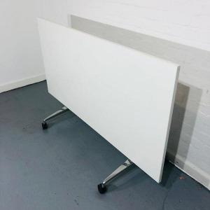 Used Mobile Fliptop Office Meeting Table, White, Width 1600mm, Wheels