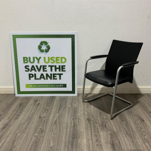 Used Haworth Stackable Mesh Back Meeting Chair, Black Leather Seat