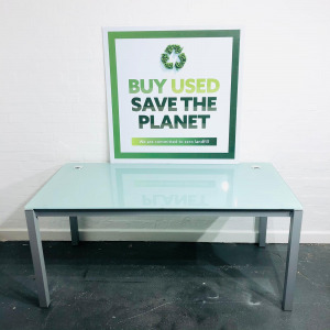 Used Rectangular Desk, Frosted Glass Top, Straight Legs Width 1600mm