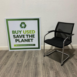 Used Sedus Stackable Mesh Meeting Chair, Chrome Cantilever Frame