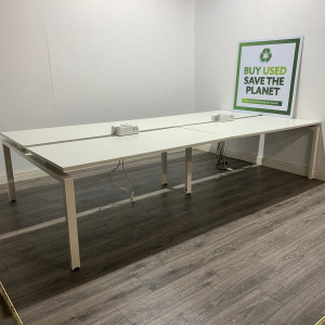 Used Senator 6 Person Bank Of Bench Desks With Power Modules, White