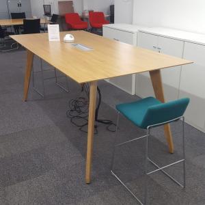 Used Sven Christiansen Ligni High Dining Meeting Table, Powered, Oak