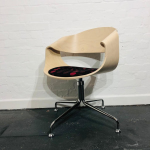 Used Connection Tub Chair, Bentwood Frame, Maple, Fixed Swivel Base