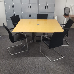 Used Vitra Eames Square Meeting Table, Polished Frame, Maple, 1500mm