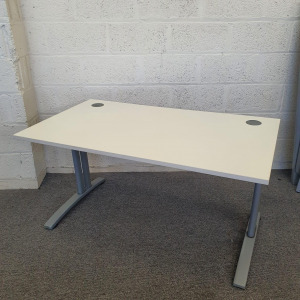 Used Claremont Rectangular Desk In White With Cantilever Legs