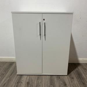 Used Claremont White Mid Height 2 Door Lockable Storage Cupboard