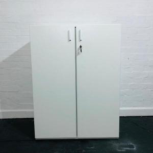 Used Techo White Mid Height 2 Door Lockable Storage Cupboard