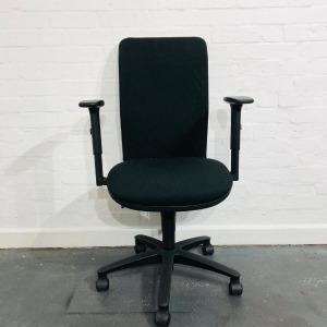 Used Mesh Office Task Chair, Black, Adjustable Armrests & Back Height