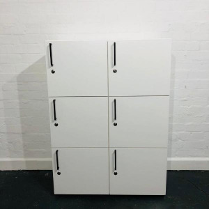 Used Bene 6 Compartment Office Storage Locker, Keys Included, White