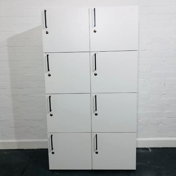 Used Bene 8 Compartment Office Storage Locker, Keys Included, White