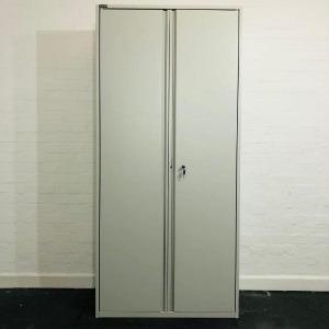 Used Triumph Tall Metal Lockable Storage Cupboard, 3 Shelves, Grey