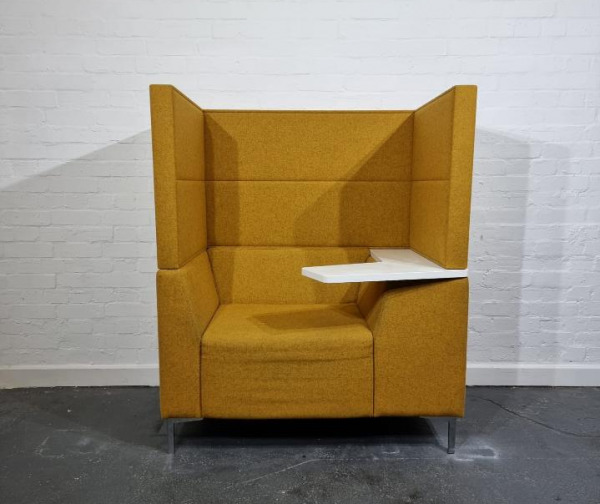 Used Connection High Back Booth Armchair With Laptop Arm, Mustard